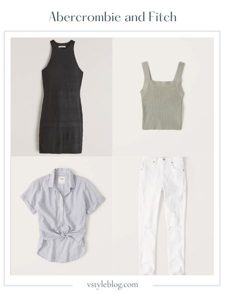 Summer Dress, White Jeans, Mini Dress, Crop Tank, Striped Top, LTK Day, Sale Alert  Pointelle Knit Mini Dress (was $69, now $41.40), Ribbed Squareneck Sweater Tank (was $39, now $29.99), Short-Sleeve Boyfriend Shirt (was $49, now $32.99), High Rise Super Skinny Ankle Jeans (was $89, now $44.50)  #LTKunder50 #LTKDay #LTKstyletip