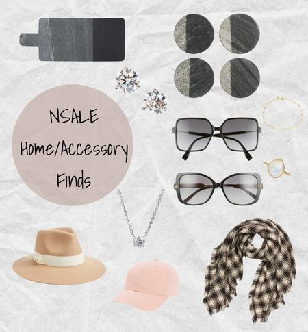 Nordstrom Anniversary Sale home and accessories: Marble & wood serving board, Marble coasters, Fendi sunglasses, Versace sunglasses, Cubic zirconium earrings and necklace, Floppy Wool felt Panama tan hat, pink Madewell baseball cap, Monica Vinader gold chain bracelet and stone ring, and Treasure and Bond plaid scarf 💗 #nsale   #LTKsalealert #LTKhome #LTKtravel
