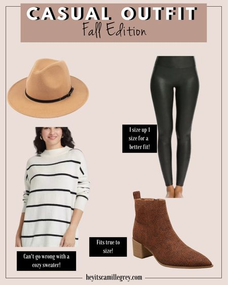 Casual Fall outfit Fall Edition All from target beige Suede wide brim hat Black spanx faux leather leggings, I sized up 1 size for a better fit Black and white tunic sweater Cheetah print booties - fit true to size!   #LTKshoecrush #LTKSeasonal #LTKunder50