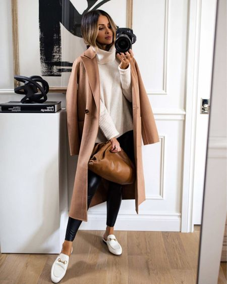 Fall outfits with a camel coat, commando faux leather leggings, and white Gucci mules  #LTKshoecrush #LTKstyletip #LTKSeasonal