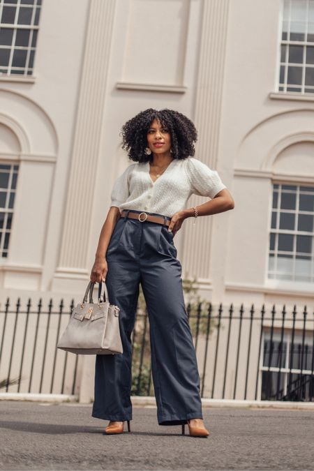 White short sleeved knit and blue high waisted wide legged trousers - great style for petites.   #LTKworkwear #LTKeurope #LTKstyletip