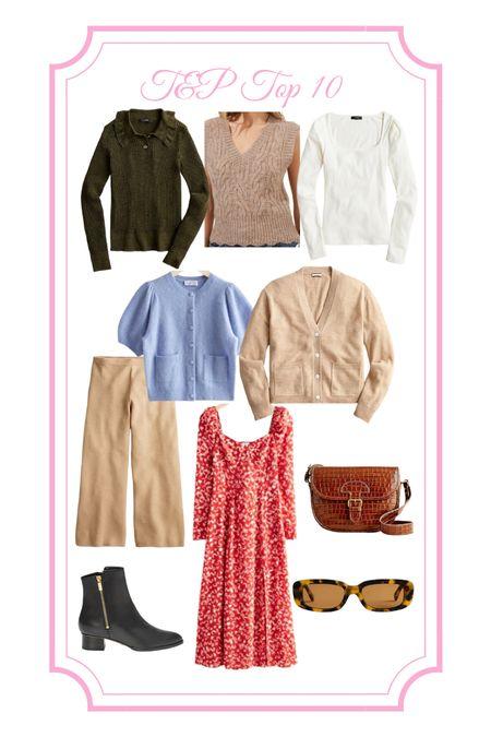 Collared sweater, cardigan, midi dress, fall dress, sweater pants, crossbody, long sleeve tee, sweater vest, sunglasses, boots, ankle boots, JCrew, sarah flint, & other stories, Astr   #LTKshoecrush #LTKunder100 #LTKsalealert