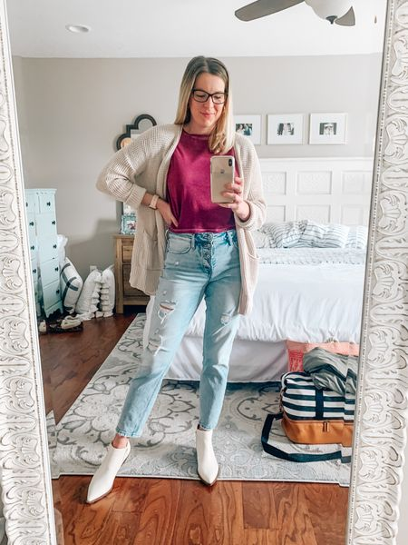 Trying to be Gen Z ✌🏼 - maroon cropped tee with high-waist, button fly jeans, cream and snakeskin booties and oversized cardio an   #LTKstyletip #LTKSeasonal #LTKunder50