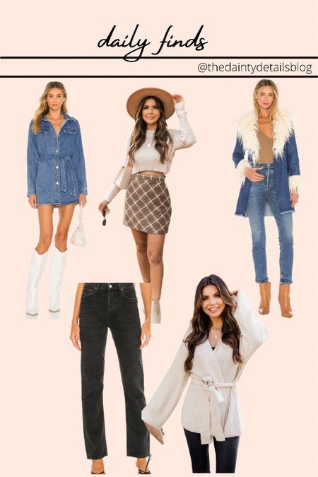 Daily finds: fall dresses, fall outfits, fall jackets, plaid skirt, cozy cardigan, jeans, black jeans, black denim  #LTKunder50 #LTKSeasonal #LTKunder100