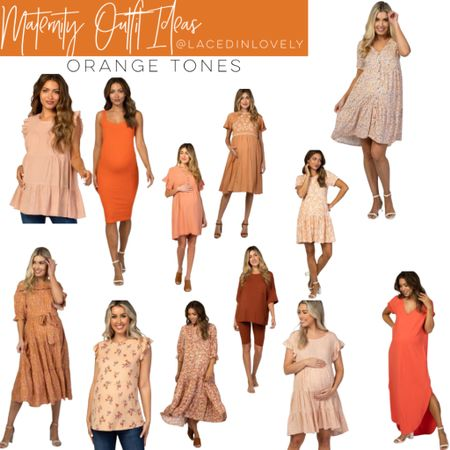 Cute Maternity styles in orange tones! These maternity styles are comfy and great quality. Pink Blush has a discount code at the top of their website that changes daily. Today it is code SWEETDEAL for 30% off dresses. 25% off bottoms, and 20% off tops.  I wear a size medium unless otherwise noted!  #LTKsalealert #LTKbump #LTKbaby