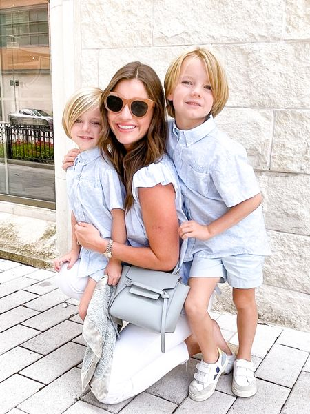 Had the best weekend w/ my boys 🤍 PS: How sweet is this new collection from @dondolo.official? 50% of every purchase goes to the @riseschoolofdallas ☀️ #ootd #fashion #weekend #sunday #boyMom #brothers #dondolo #shopbop #motherdenim #lespecs #celine #beltbag   #LTKunder100 #LTKfamily #LTKkids