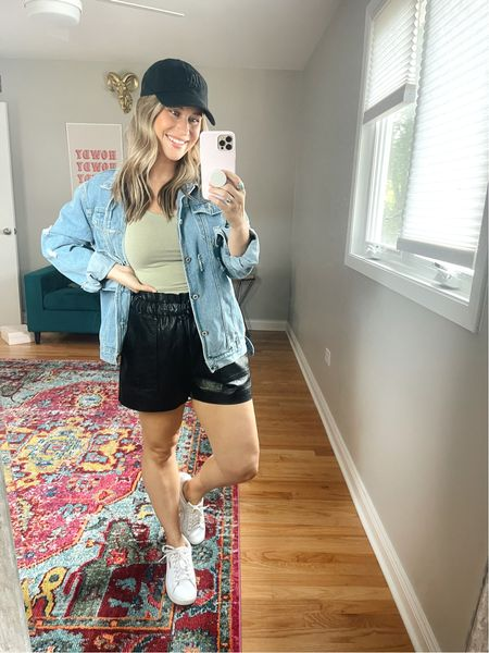The perfect casual outfit! Paired these David leather shorts, with a cropped top and oversized jean jacket! They are all amazon finds! Also linked my white sneakers and baseball hat   #LTKshoecrush #LTKunder50 #LTKstyletip