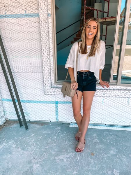 Oversized free people top runs tue to size. My Jean shorts are so comfy! Size up. Sandals run tts @liketoknow.it #liketkit http://liketk.it/3i13J #LTKshoecrush #LTKunder50 #LTKstyletip