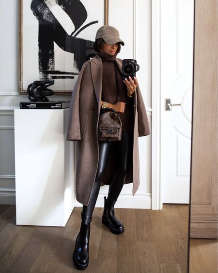 Fall outfit ideas  Nordstrom brown coat Nordstrom brown sweater  Marc Fisher lug sole boots  Commando Faux Leather Leggings   #LTKsalealert #LTKSeasonal #LTKshoecrush