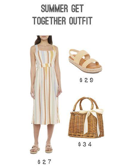http://liketk.it/3geuv #liketkit @liketoknow.it #LTKunder50 #LTKtravel #LTKstyletip #ltkseasonal summer vacation outfit, summer beach style, summer get together outfit, dresses under $50, JC Penney dress, espadrille wedges, straw tore