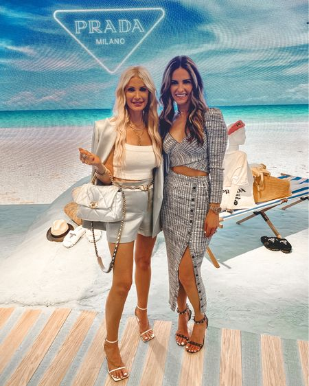 Fun day at the beach, just kidding and I wish! This is actually the NEW Prada pop-up @neimanmarcusnorthpark which is a definite must-see!! Their summer collection is to die-for and the way they put it all together in this fun summer beach scene is really neat! If you live in Dallas and have a chance to swing by it's totally worth it!!  ✨✨✨ I'm wearing an @aliceandolivia sage green short suit which would be so perfect to wear on your next night out! The blazer is perfectly over-sized and would look really cool with denim too! It runs tts, I'm wearing a 0. The shorts aren't too short so they're very age-appropriate and actually very flattering! They also run tts, I'm wearing a size 2.  Enjoy your Friday eve!!   @liketoknow.it #liketkit http://liketk.it/3heTD #LTKstyletip #LTKshoecrush #LTKworkwear Shop my daily looks by following me on the LIKEtoKNOW.it shopping app