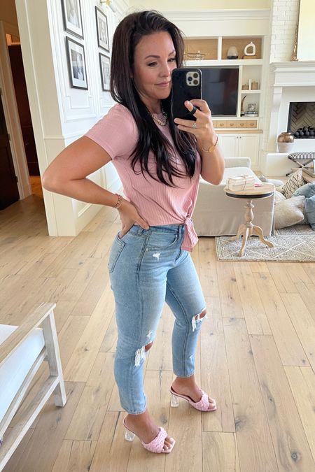 Date night easy outfit!  Designer inspired woven sandal heels Mom jeans  Tie front t shirt in all the colors http://liketk.it/3gUHU #liketkit @liketoknow.it #LTKshoecrush #LTKunder50 #LTKsalealert