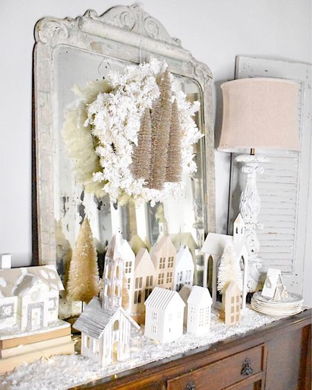 I'm loving how this little Christmas village is looking on my entryway table!   I wound tiny white lights around it, and sprinkled it with artificial snow and it looks so pretty at night.   I have linked several options for the houses trees and even similar lamps.    http://liketk.it/33FyY #liketkit @liketoknow.it #StayHomeWithLTK #LTKunder50 #LTKhome    You can instantly shop all of my looks by following me on the LIKEtoKNOW.it shopping app  #lamps #christmaswreath #christmasdecor #neutralchristmasdecor #frenchstylemirror