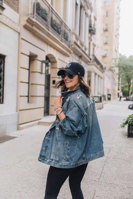 Denim jacket Fall outfit Athleisure Oversized Baseball hat H&M Leggings Black leggings  #LTKstyletip #LTKunder50 #LTKSeasonal