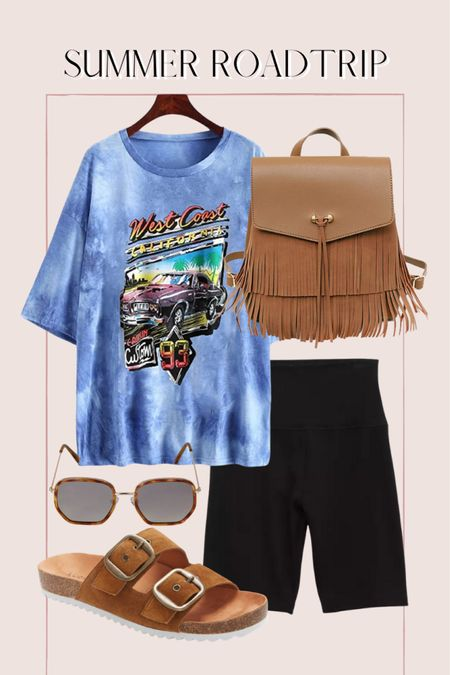 Summer road trip outfit, casual summer outfit, tie dye graphic tee, biker shorts, Amazon finds http://liketk.it/3ihiK @liketoknow.it #liketkit #LTKunder50 #LTKunder100