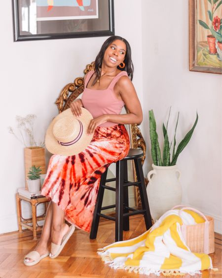 Beachside vibes with this pink tie dye midi skirt from Free People and this dusty rose square neck tank top from Express.  #LTKstyletip #StayHomeWithLTK #LTKhome