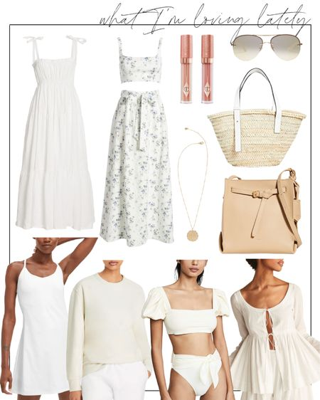 A few end-of-summer things I'm loving lately. Sometimes it's just fun just to share what I bought or am browsing that's caught my eye!  The exercise dress is seriously the best $100 you will ever spend. The lip glosses (especially in color 'Champagne Diamonds') have been practically the only thing I've worn on my lips this summer!