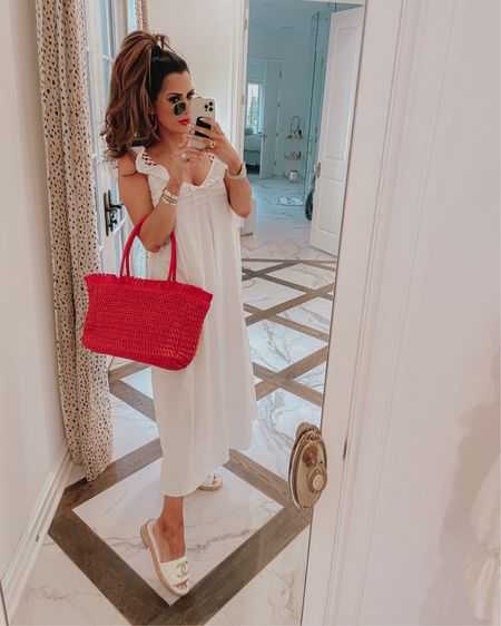 Emily Ann Gemma, 4th of July Outfit, Patriotic Outfit, Casual Summer Outfit 2021, White and gold sandals, White cotton dress, Shein, Shein finds , Dior Book Tote, What to wear summer 2021, Red Straw Handbag, H&M finds, H&M outfit,  Patriotic swimsuit http://liketk.it/3iqQz #liketkit @liketoknow.it