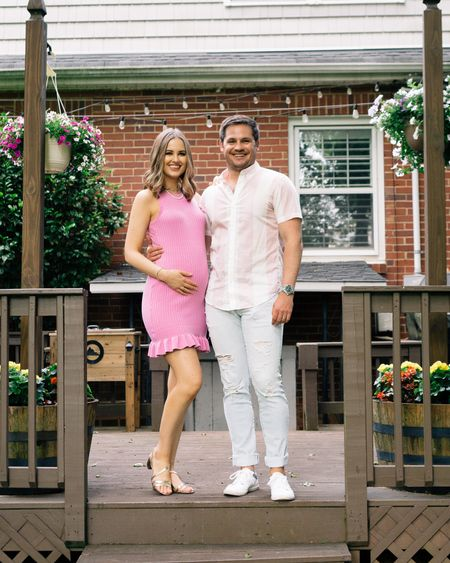 Bump friendly pink ribbed dresses & gold strappy sandals   #LTKbaby #LTKSeasonal #LTKbump