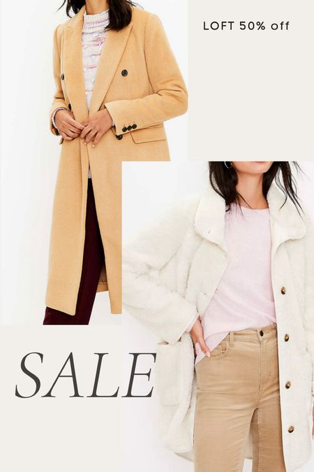 Loft 50% off sale- trench coat, pea coat, sherpa coat   #LTKunder100 #LTKsalealert