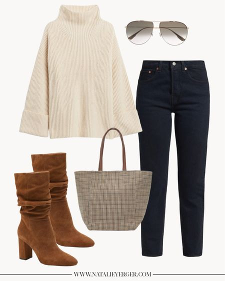 """Fall Outfits, Fall Outfits Women, Casual Fall Outfits, White Sweater  One of my favorite casual fall outfits from the roundup on natalieyerger.com last week! Featuring two more Banana Republic favorites I'm loving from their fall collection (the brown boots and oversized sweater). The Levi's pictured run small, size up one. Houndstooth bag is the perfect """"pop"""" to an otherwise neutral outfit for under $100!  #brownboots #oversizedsweater #blackjeans #fallsweaters"""