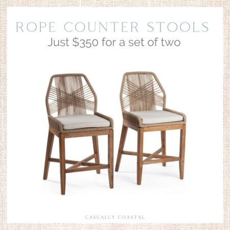 These always sell out within a couple of hours, but this is an incredible deal for two rope counter stools! Use code SHIP89 for free shipping! - coastal dining chairs, woven stools, woven chair dining, coastal side chairs, coastal chairs, rope chairs, rope dining chairs, marshalls finds, tj maxx finds, affordable dining chairs, coastal decor, beach house decor, beach decor, beach style, coastal home, coastal home decor, coastal decorating, coastal house decor, blue and white home, blue and white decor, counter stools with back, counter stool woven, rattan counter stool,, woven counter stools, affordable counter stools, TJ Maxx finds, TJ Maxx home, rope counter stools, tan counter stools, marshalls home  #LTKfamily #LTKhome