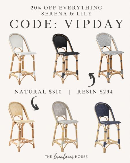 Everything at Serena and Lily is 20% off right now! These counter stools are a great price and there are even more colors than what is here! The natural ones are made from real rattan and the resin is made from a synthetic material!  Kid friendly, counter stools, barstools, coastal furniture, sale furniture, fall Decor, black barstools, black Furniture, came furniture, navy, navy Decor, blue Decor, natural Decor  #LTKsalealert #LTKhome #LTKstyletip