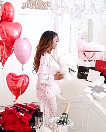 Talk about the most comfortable 💞🎀 Blush pink Pajamas Ever!! Who can resists these adorable mini hearts! Silk pajamas with pockets.  A huge plus for me in Sleepwear. How cute is the Rose Bear!! I got the white rose teddy bear. Plus vintage champagne bucket!!! Watch my romantic decor bedroom haul!  http://liketk.it/2KzeG #liketkit #pinkpajamas @liketoknow.it