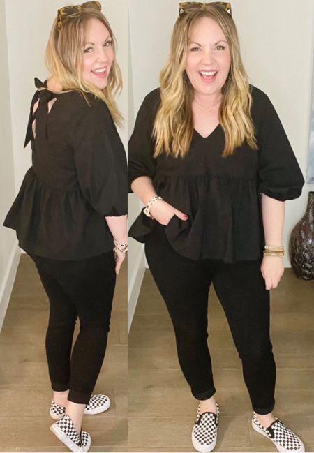 Puff sleeve top; skinny jeans, checkered shoes  #LTKunder50 #LTKstyletip #LTKworkwear