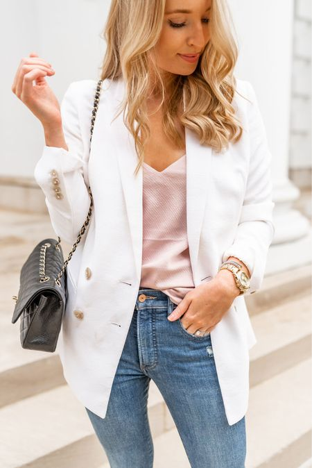 This white boyfriend blazer fits like a dream! It has a great fit in the shoulders and arms will still having a flattering boyfriend fit. The material is also stretchy so my arms don't feel restricted  Sizing- blazer TTS (4) tank TTS (S) jeans TTS (4)  Express outfit // white blazer // distressed skinny jeans   #LTKstyletip #LTKsalealert #rStheCon