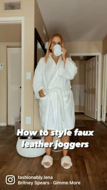Spanx leather joggers , suede jacket, Gucci bag, layered necklace   #LTKitbag #LTKSeasonal #LTKstyletip
