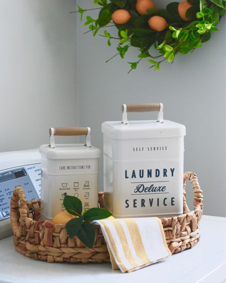 These  Laundry Tins have got to be the cutest things EVER! The largest tin holds 3 bags of my Tide pods. And the price point of $9 and $7 can't be beat! 🧺🤍 Grab your before they are gone!!! They are a hit item!   1-Download the @liketoknow.it  App 2-Screen shot this picture  3-Shop all direct links from my account.  4- You can also click on my #liketkit Highlight on my highlight reel 👍🏻 . .  http://liketk.it/2QC3E #StayHomeWithLTK #LTKunder50 #LTKhome