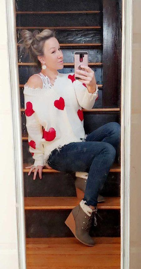 loving this heart sweater 💕 and boots  👢  #LTKSeasonal #LTKVDay #LTKshoecrush