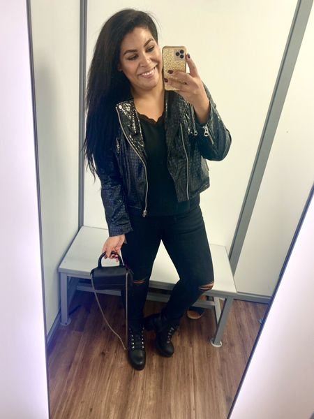 Styling Walmart fashion fall outfit of the day perfect for date night!  ✨Cami $19 (TTS, XL) ✨Moto faux croc leather jacket $40 (TTS, XL) ✨Black distressed denim $27 (run small, size up 2 sizes to a 16) ✨ Platform boots $24.98 (run large, size down) ✨ Chain link crossbody purse $12  midsize, mid size, size 12, size 14, all black outfit, black denim, faux leather moto, affordable fashion, affordable fall outfit, date night outfit   #LTKsalealert #LTKcurves #LTKunder50