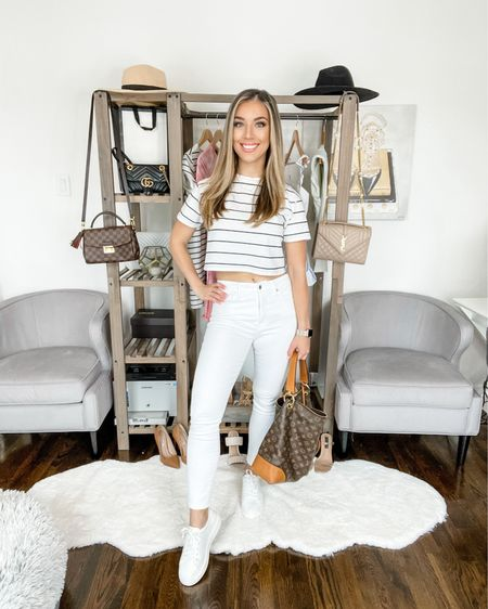 4️⃣ WAYS TO STYLE WHITE JEANS THIS SUMMER ☀️// LOOK 1: CASUAL I love a crop white tee paired with white jeans and some sneaks for running errands, getting groceries, shopping or a casual lunch with a friend. http://liketk.it/3h6qN #liketkit @liketoknow.it