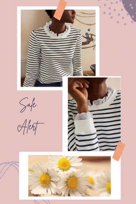 Just bought because this girl can never have enough stripes, or ruffle neck tops. This sweatshirt is perfect for fall and the cooler months! 💕 Up to 20% off the whole site with code K9Q2