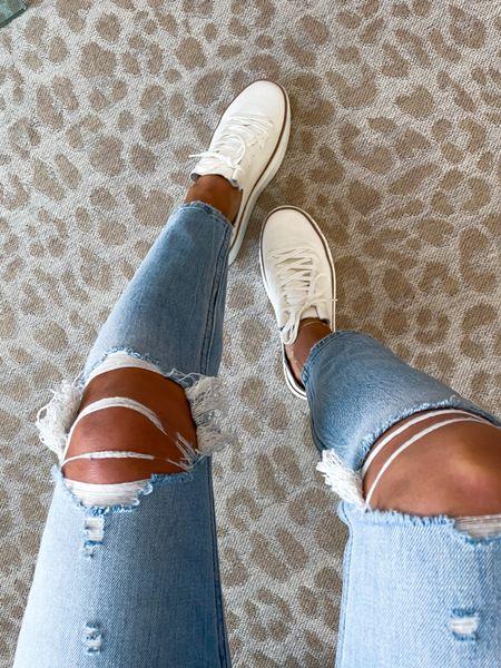 Ripped jeans in 24s on sale white sneakers   #LTKunder50 #LTKunder100 #LTKsalealert