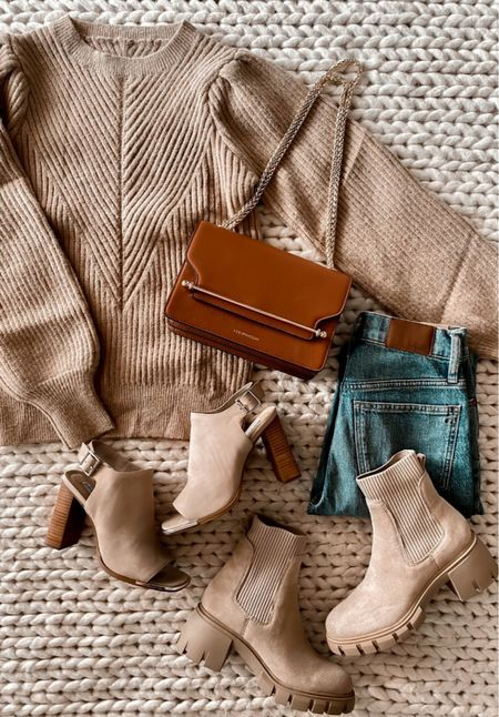 Fall fashion, Strathberry bag, Madewell jeans, tan boots, Amazon sweater, Amazon fashion, Amazon finds  #LTKunder50 #LTKshoecrush #LTKSeasonal