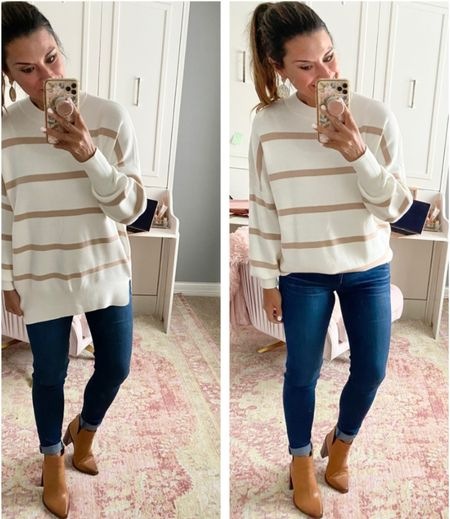 The best striped tunic for Fall - Everything is true to size. Wearing a small in the top and 4 in the jeans. #justpostedblog   #LTKunder100 #LTKSeasonal #LTKstyletip