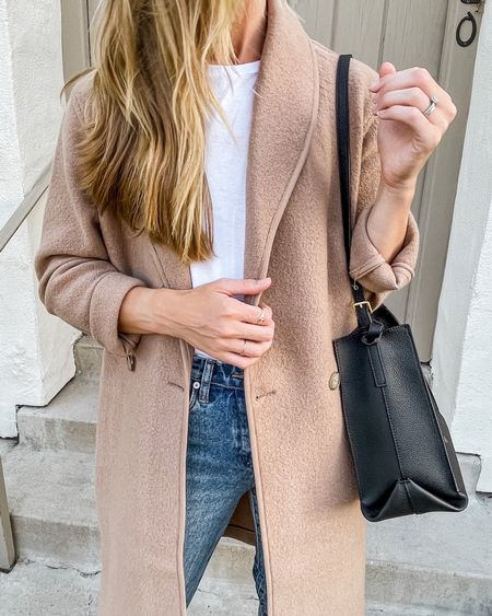 Cardigan Coat, Camel Coat, Shawl Collar Camel Coat, Fall Bag, Straight Leg Jeans, Oversized Coat  Note: My exact coat is by Aritizia, which I can't link in LTK. If you search the 'Charlize Jacket' on Aritzia.com, you'll find it in multiple colors! Wearing size XS—runs oversized.  #natalieyerger #coatigan #fallfashion #fallstyle #falloutfits