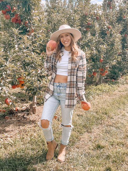 The exact tan rancher hat is from Walmart but I couldn't find it on their website so I linked similar. White crop top tee is Target. Flannel is from the men's section at Walmart. Jeans and boots are also from Walmart. My tee is a small, flannel small, jeans 6. This outfit is literally perfect for fall and autumn time😍 wore this to the apple orchard🍂🍎 totally affordable and cheap outfit ♥️  #LTKSeasonal #LTKunder50 #LTKstyletip