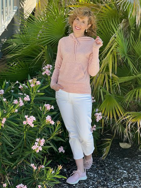 Cashmere hoodie, pink cashmere sweater, pink hoodie, pink cashmere hoodie, JCrew cashmere, pink sneakers, Allbirds, white earrings, Kendra Scott earrings  This pink cashmere hoodie is absolutely delicious! It's lightweight cashmere and comes in multiple colors. I paired it with these pink tennis shoes that people ask me about all the time!  #LTKshoecrush #LTKSeasonal #LTKstyletip