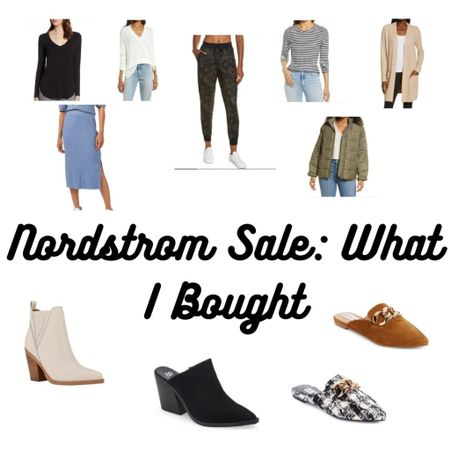 What I bought from the Nordstrom sale: staple white leather booties, mules for work, mule booties, barefoot dreams cardi, midi skirt, army jacket, basic layering tops, and joggers!   #LTKsalealert #LTKunder100 #LTKshoecrush
