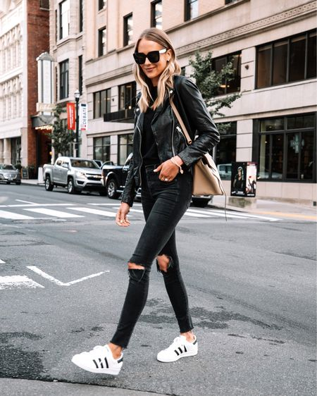 All black fall outfit #leatherjacket #falloutfit #sneakers   #LTKunder50 #LTKstyletip #LTKunder100