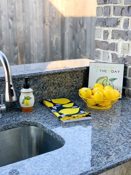 Outdoor kitchen decor is up. Squeeze the Day with LEMON Decor. #OutdoorKitchen #KitchenDecor #Lemons #BackyardVibes   #LTKSeasonal #LTKhome