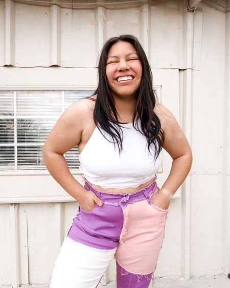 amazon find. purple patched pants and white crop top. retro pants http://liketk.it/3bjlQ #liketkit @liketoknow.it