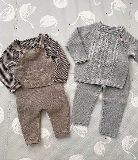 fall outfits for baby boy // neutral knits + organic cotton outfits for little ones from Carter's  •Little Planet organic seed stitch overalls •Little Planet organic bodysuits  •2 piece organic cable knit set •Thermal organic cotton pants   #LTKSeasonal #LTKfamily #LTKkids