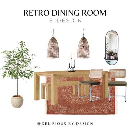 Retro Dining Room Design  Pendant lights available on deliriousbydesign.com!   #diningroomdecor #homedecor #springdecor #interiordesign #diningtable #arearug #fauxtree #diningchairs #eucalyptustree #lighting #pendantlights  #LTKfamily #LTKhome #LTKunder100