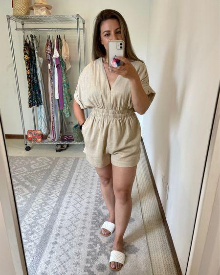 Red dress try on beige linen jumpsuit http://liketk.it/3idt5 #liketkit @liketoknow.it #LTKunder100