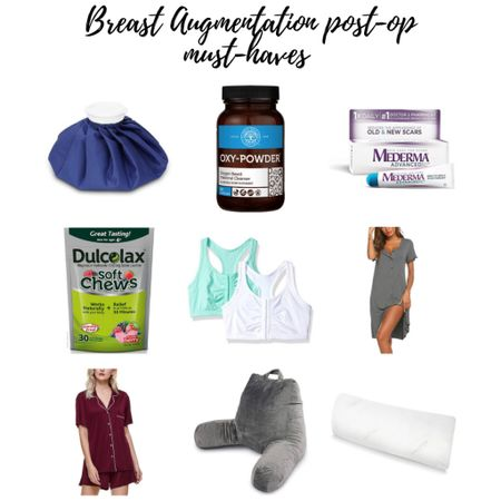 All on Amazon! My must haves for post-op breast augmentation surgery: Soft ice packs ($6) Help with constipation (2 of the things that worked for me!) Front closure bras - 2 pk for under $13! Button down pjs - BOTH of these are ON SALE!!  Comfy pillows to sleep sitting up.    #LTKsalealert #LTKbump #LTKunder50